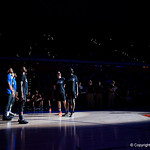 The Florida Gators starting lineup being introduced during the first half as the Gators defeat SEC East rival, the Tennessee Volunteers at Exactech Arena 83-70 at the Stephen C. O'Connell Center in Gainesville, Florida.  January 7th, 2016. Gator Country photo by David Bowie.