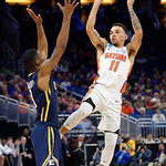 Univeristy of Florida Gators guard Chris Chiozza fades back for a shot during the second half as the Gators advance to the second round of 2017 NCAA Tournament with a win over the  East Tennessee State Buccaneers 80-65.  March 16th, 2017.  Gator Country photo by David Bowie.