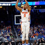 Univeristy of Florida Gators guard KeVaughn Allen drains a three pointer during the second half as the Gators advance to the second round of 2017 NCAA Tournament with a win over the  East Tennessee State Buccaneers 80-65.  March 16th, 2017.  Gator Country photo by David Bowie.