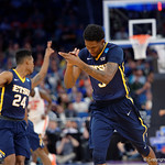 East Tennessee State University Buccaneers forward David Burrell celebrating during the first half as the Gators advance to the second round of 2017 NCAA Tournament with a win over the  East Tennessee State Buccaneers 80-65.  March 16th, 2017.  Gator Country photo by David Bowie.