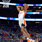 Univeristy of Florida Gators forward Devin Robinson throws down a monster dunk during the frist half as the Gators advance to the second round of 2017 NCAA Tournament with a win over the  East Tennessee State Buccaneers 80-65.  March 16th, 2017.  Gator Country photo by David Bowie.