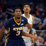 Univeristy of Florida Gators forward Devin Robinson fighting for position in the paint against East Tennessee State University Buccaneers forward David Burrell during the second half as the Gators advance to the second round of 2017 NCAA Tournament with a win over the  East Tennessee State Buccaneers 80-65.  March 16th, 2017.  Gator Country photo by David Bowie.