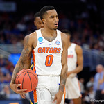 Univeristy of Florida Gators guard Kasey Hill shows his feelings about a referees call during the second half as the Gators advance to the second round of 2017 NCAA Tournament with a win over the  East Tennessee State Buccaneers 80-65.  March 16th, 2017.  Gator Country photo by David Bowie.