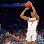 Univeristy of Florida Gators forward Devin Robinson shooting during the frist half as the Gators advance to the second round of 2017 NCAA Tournament with a win over the  East Tennessee State Buccaneers 80-65.  March 16th, 2017.  Gator Country photo by David Bowie.