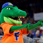 Albert the Mascot rooting on the Gators during the first half as the Gators advance to the second round of 2017 NCAA Tournament with a win over the  East Tennessee State Buccaneers 80-65.  March 16th, 2017.  Gator Country photo by David Bowie.