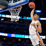 Univeristy of Florida Gators forward Devin Robinson dunking during the second half as the Gators advance to the second round of 2017 NCAA Tournament with a win over the  East Tennessee State Buccaneers 80-65.  March 16th, 2017.  Gator Country photo by David Bowie.