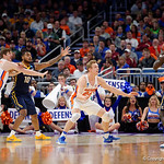 Univeristy of Florida Gators guard Canyon Barry on defense during the first half as the Gators advance to the second round of 2017 NCAA Tournament with a win over the  East Tennessee State Buccaneers 80-65.  March 16th, 2017.  Gator Country photo by David Bowie.