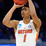 Univeristy of Florida Gators forward Devin Robinson shooting a free throw during the second half as the Gators advance to the second round of 2017 NCAA Tournament with a win over the  East Tennessee State Buccaneers 80-65.  March 16th, 2017.  Gator Country photo by David Bowie.