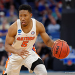 Univeristy of Florida Gators guard KeVaughn Allen dribbles up court during the second half as the Gators advance to the second round of 2017 NCAA Tournament with a win over the  East Tennessee State Buccaneers 80-65.  March 16th, 2017.  Gator Country photo by David Bowie.
