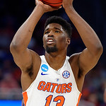 Univeristy of Florida Gators forward Kevarrius Hayes at the free throw line during the first half as the Gators advance to the second round of 2017 NCAA Tournament with a win over the  East Tennessee State Buccaneers 80-65.  March 16th, 2017.  Gator Country photo by David Bowie.