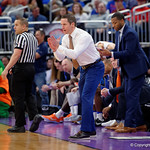 Univeristy of Florida Gators head coach Mike White coaching up his team during the first half as the Gators advance to the second round of 2017 NCAA Tournament with a win over the  East Tennessee State Buccaneers 80-65.  March 16th, 2017.  Gator Country photo by David Bowie.