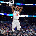Univeristy of Florida Gators forward Kevarrius Hayes puts down a monster jam during the second half as the Gators advance to the second round of 2017 NCAA Tournament with a win over the  East Tennessee State Buccaneers 80-65.  March 16th, 2017.  Gator Country photo by David Bowie.