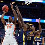 University of Florida Gators forward Keith Stone shooting during the first half as the Gators advance to the second round of 2017 NCAA Tournament with a win over the  East Tennessee State Buccaneers 80-65.  March 16th, 2017.  Gator Country photo by David Bowie.
