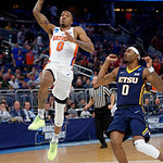 Univeristy of Florida Gators guard Kasey Hill scores during the first half as the Gators advance to the second round of 2017 NCAA Tournament with a win over the  East Tennessee State Buccaneers 80-65.  March 16th, 2017.  Gator Country photo by David Bowie.