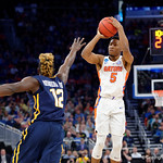 Univeristy of Florida Gators guard KeVaughn Allen shooting during the first half as the Gators advance to the second round of 2017 NCAA Tournament with a win over the  East Tennessee State Buccaneers 80-65.  March 16th, 2017.  Gator Country photo by David Bowie.