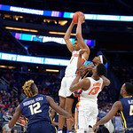 Univeristy of Florida Gators forward Devin Robinson leaps for a rebound during the frist half as the Gators advance to the second round of 2017 NCAA Tournament with a win over the  East Tennessee State Buccaneers 80-65.  March 16th, 2017.  Gator Country photo by David Bowie.