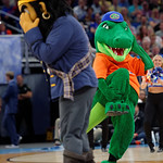 Albert the Mascot in a dance off against the ETSU mascot during the first half as the Gators advance to the second round of 2017 NCAA Tournament with a win over the  East Tennessee State Buccaneers 80-65.  March 16th, 2017.  Gator Country photo by David Bowie.