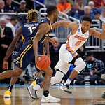 Univeristy of Florida Gators guard KeVaughn Allen on defense during the second half as the Gators advance to the second round of 2017 NCAA Tournament with a win over the  East Tennessee State Buccaneers 80-65.  March 16th, 2017.  Gator Country photo by David Bowie.