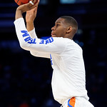 Univeristy of Florida Gators forward Justin Leon during pre-game warmups as the Gators advance to the second round of 2017 NCAA Tournament with a win over the  East Tennessee State Buccaneers 80-65.  March 16th, 2017.  Gator Country photo by David Bowie.