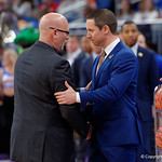 Univeristy of Florida Gators head coach Mike White and East Tennessee State University Buccaneers head coach Steve Forbes shake hands before the game as the Gators advance to the second round of 2017 NCAA Tournament with a win over the  East Tennessee State Buccaneers 80-65.  March 16th, 2017.  Gator Country photo by David Bowie.
