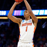 Univeristy of Florida Gators forward Devin Robinson drains a three pointer during the second half as the Gators advance to the second round of 2017 NCAA Tournament with a win over the  East Tennessee State Buccaneers 80-65.  March 16th, 2017.  Gator Country photo by David Bowie.