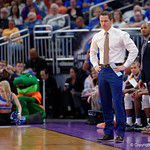 Univeristy of Florida Gators head coach Mike White not happy during the first half as the Gators advance to the second round of 2017 NCAA Tournament with a win over the  East Tennessee State Buccaneers 80-65.  March 16th, 2017.  Gator Country photo by David Bowie.