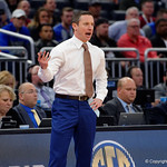 Univeristy of Florida Gators head coach Mike White coaching up his team during the second half as the Gators advance to the second round of 2017 NCAA Tournament with a win over the  East Tennessee State Buccaneers 80-65.  March 16th, 2017.  Gator Country photo by David Bowie.