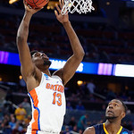 Univeristy of Florida Gators forward Kevarrius Hayes scores during the first half as the Gators advance to the second round of 2017 NCAA Tournament with a win over the  East Tennessee State Buccaneers 80-65.  March 16th, 2017.  Gator Country photo by David Bowie.