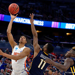 Univeristy of Florida Gators forward Devin Robinson shooting during the second half as the Gators advance to the second round of 2017 NCAA Tournament with a win over the  East Tennessee State Buccaneers 80-65.  March 16th, 2017.  Gator Country photo by David Bowie.