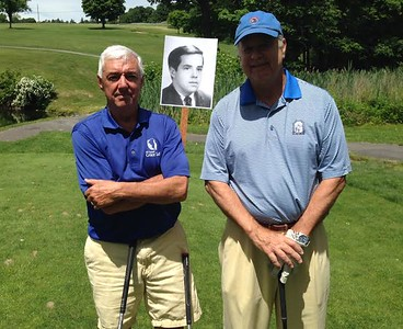 Doug Capers '67 with photo of classmate Fernando Sanchez '67 and Averell Fisk '67 at Storm King Golf Course