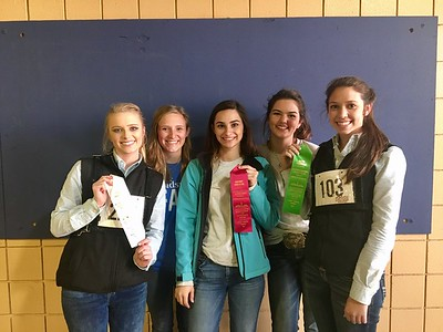 FHS FFA Cattle Team all smiles after they place in their class. Hailey Binkley 3rd, Kenzie Jeter 7th, Gracie Kempken 2nd, Magan Cotham 11th, Olivia Cates 6th