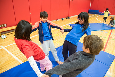 Elementary students practicing their gymnasitics and tumbling routines during PE. #learningatYIS