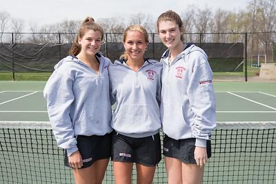 Spring 2017 varsity girls tennis seniors Lily Everett, Lily Harris, Kate Whittier class of 2017