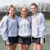 Spring 2017 varsity girls tennis seniors Lily Everett, Lily Harris, Kate Whittier class of 2017