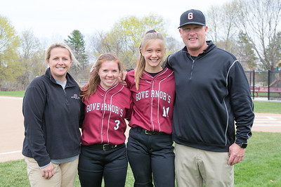 Spring 2017 varsity softball coaches and captains Danielle Kingsbury, Rachel Ross class of 2017, Chloe Quigley class of 2017, Scott Kingsbury