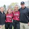 Spring 2017 varsity softball coaches and captains Danielle Kingsbury, Rachel Ross class of 2017, Chloe Quigley class of 2017, Scott Kingsbury