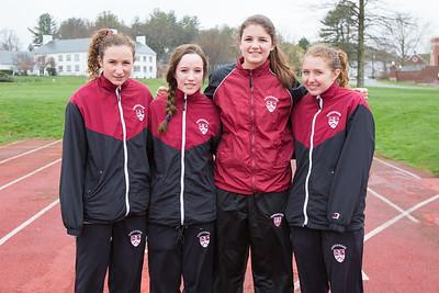 Spring track girls captains Abby Bashaw, Abby Pike, Lia Swiniarski, Anna Morris class of 2017