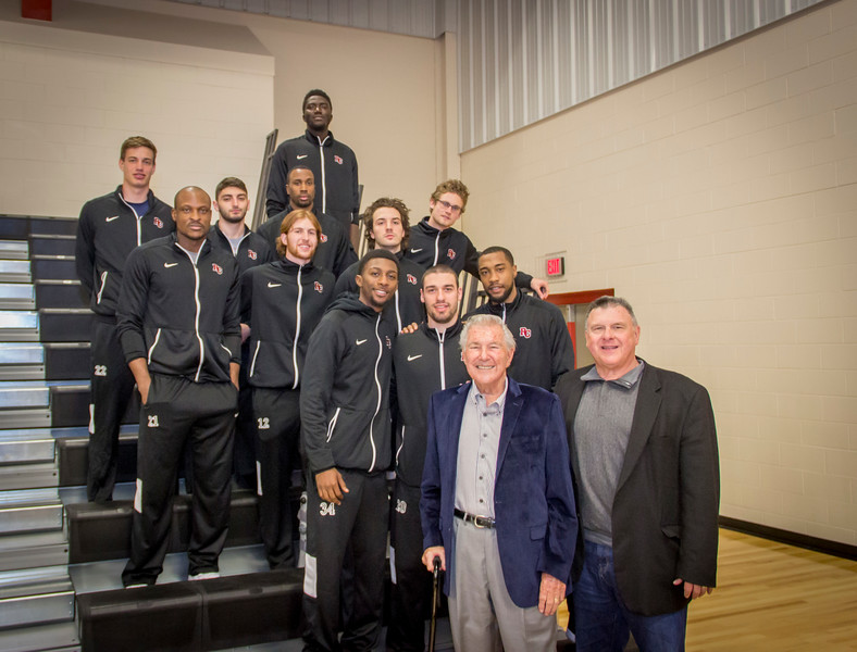 Bill Fox  & Garth Pleasant with Warrior Men's Basketball Team