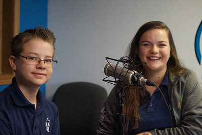 StuCo officers Annie Wasinger and Seth Perrett on Eagle Radio for Catholic Schools Report.