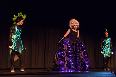 Elly Lang as Ursula, the sea witch, along with Alison Helget and Allison Campbell as Flotsam and Jetsam in the 2017 Fall Musical, The Little Mermaid.