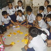 MAKING RANGOLI WITH PETALS OF FLOWERS