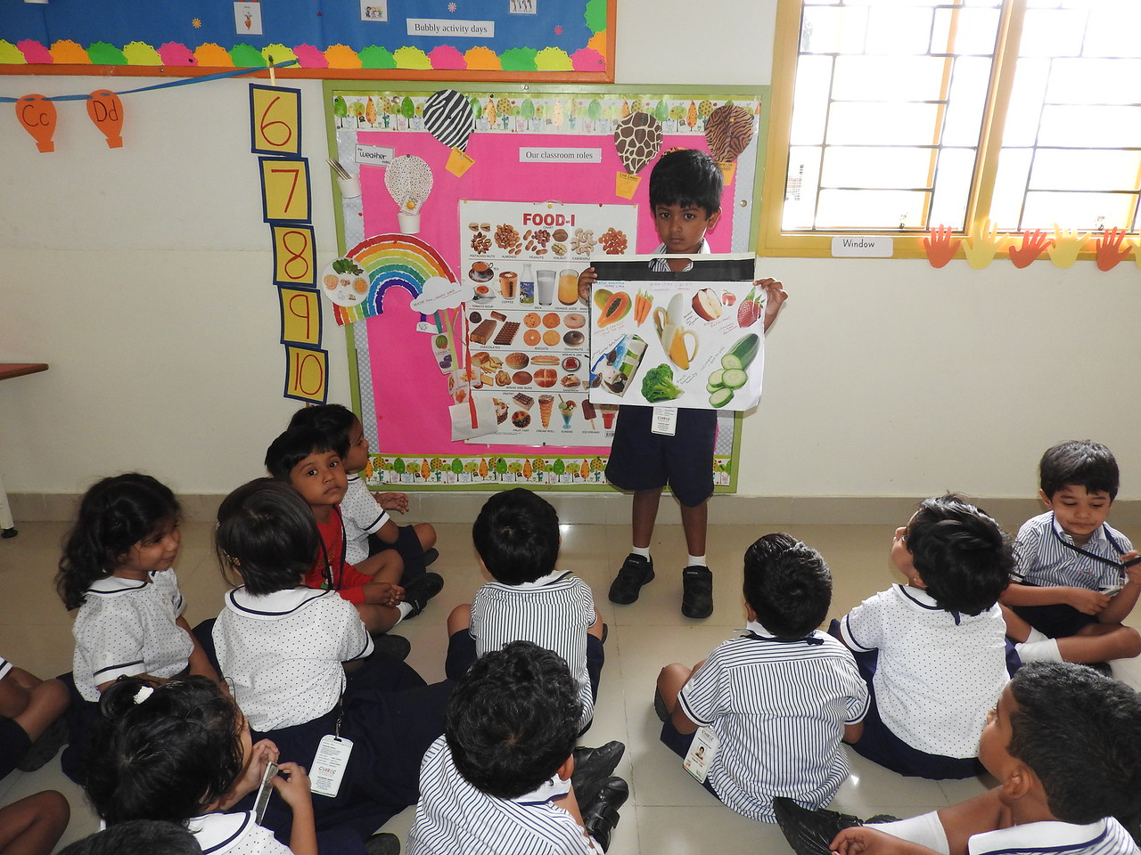 CHILDREN OF NEMOS WITH THEIR CHARTS DURING SHOW AND TELL ACTIVITY ( HEALTHY FOOD FOR HEALTHY BODY1