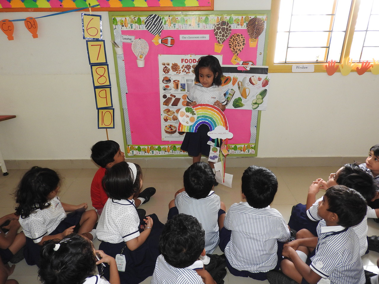 CHILDREN OF NEMOS WITH THEIR CHARTS DURING SHOW AND TELL ACTIVITY ( HEALTHY FOOD FOR HEALTHY BODY
