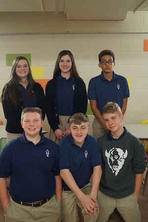 Eighth Graders: Annie Wasinger, Allison Applequist, Jace Shinnette, Hunter Flax, Ben Pfannenstiel, and Kooper Hudsonpillar.