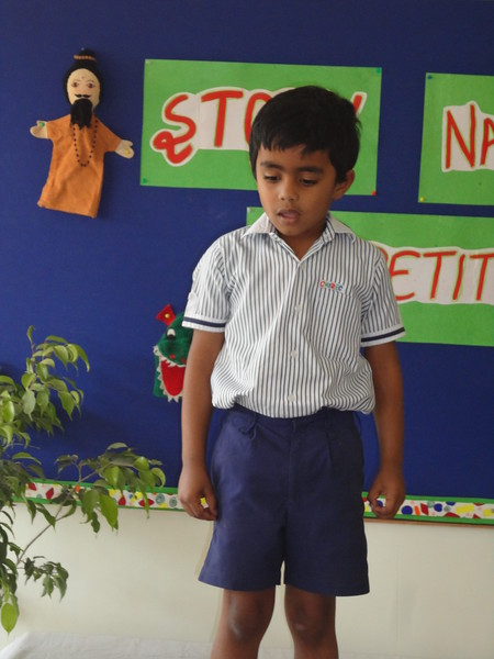 ARJUN DURING PRELIM ROUND OF STORY NARRATION COMPETITION