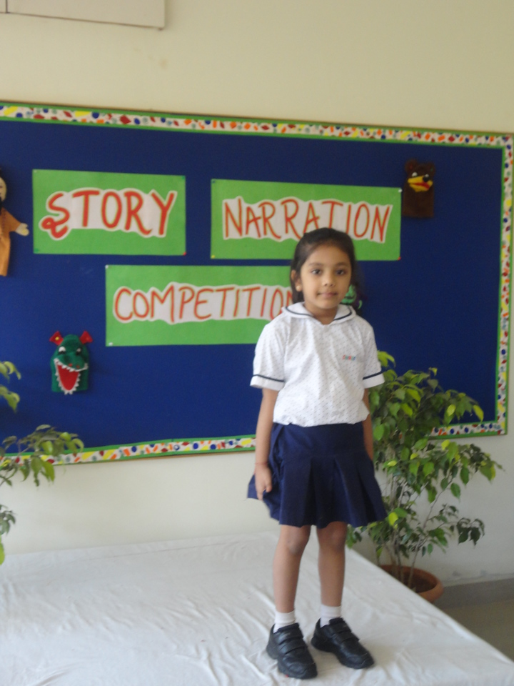 DEVANSHI DURING PRELIM ROUND OF STORY NARRATION COMPETITION