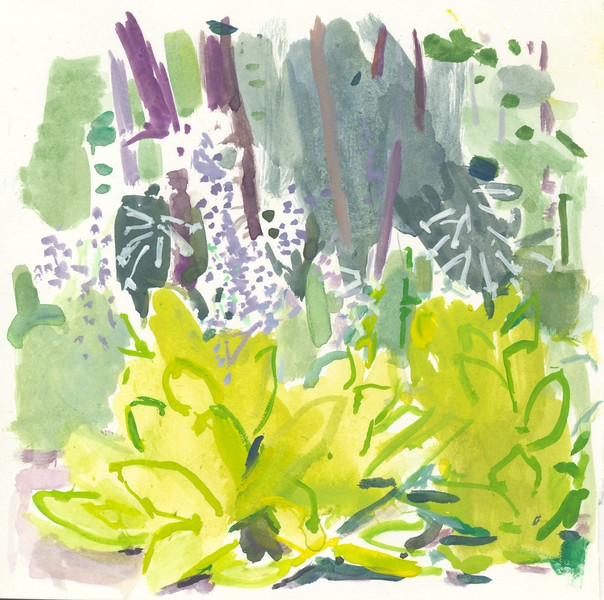 "Bette's Garden, 5""x5"", acrylic on paper, 2016"