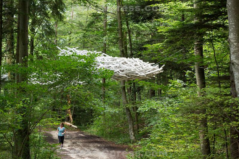 Der Holzweg Thal liegt im Naturpark Thal auf dem Gemeindegebiet von Balsthal und Holderbank SO -  Entlang des Themenwegs befinden sich einzigartige Installationen - künstlerisch gestaltet von Sammy Deichmann und holzhandwerklich ausgeführt durch holzverarbeitende Betriebe des Thals © Patrick Lüthy/IMAGOpress.com