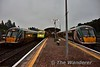 A full house at Mallow. On the left is 22016 with the 0645 Cork - Tralee, 4006 arrives with the 0700 Cork - Heuston and 22021 waits to depart for Cork with the 0555 Tralee - Cork. Wed 17.08.16