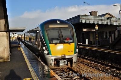The rear of the 0908 Athlone - Westport at Claremorris. Sat 30.01.16